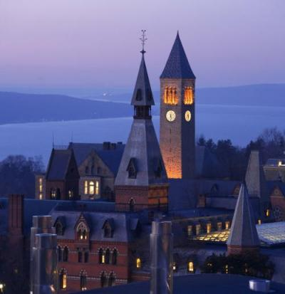 Cornell clock tour at sunset