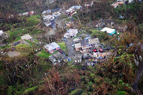 Aerial view of Puerto Rico after Hurricane Maria hit