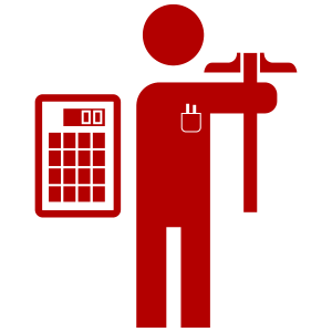 Engineer as a icon with calculator and tools