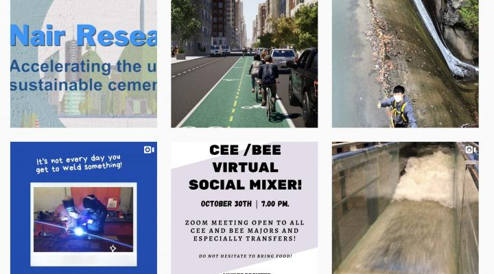 Instagram posts boxes with Nair Research Group, Image of people riding bikes in city, grad student working on top of a waterfall with harness on and thumbs up, It's not everyday you get to weld something with students welding, CEE/BEE Virtual Social Mixer announcement and image of water flowing in a tank.