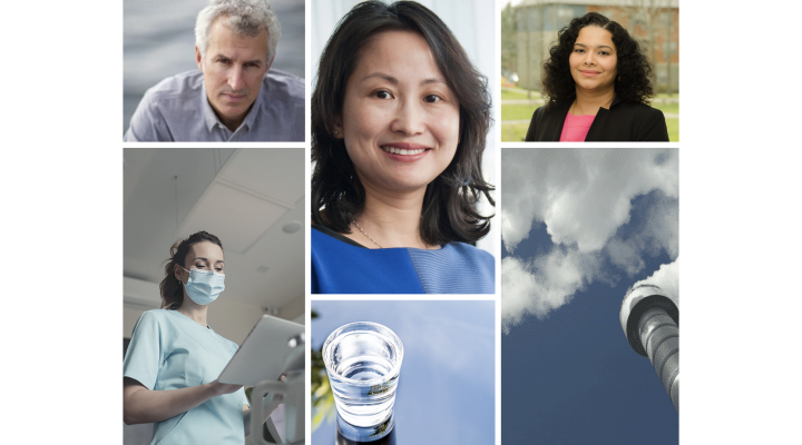 Todd cowen, photo below of healthcare worker with mask on, April Gu, below glass of water, Sriramya Nair with photo of smokestack below