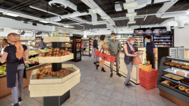 Image from a 3D simulation of a grocery store used in an experiment conducted by Ricardo Daziano, associate professor of civil and environmental engineering, to gauge New York City residents' perceptions of social distancing.